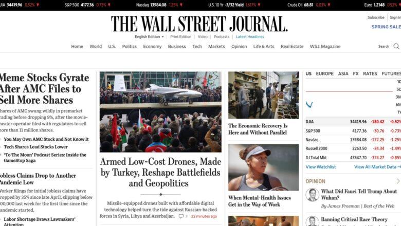 BayraktarTB2 The Wall Street Journal'in kapağında Yer Aldı!